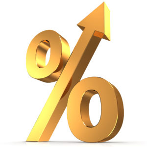 """The symbol for """"percent"""" featured in gold."""