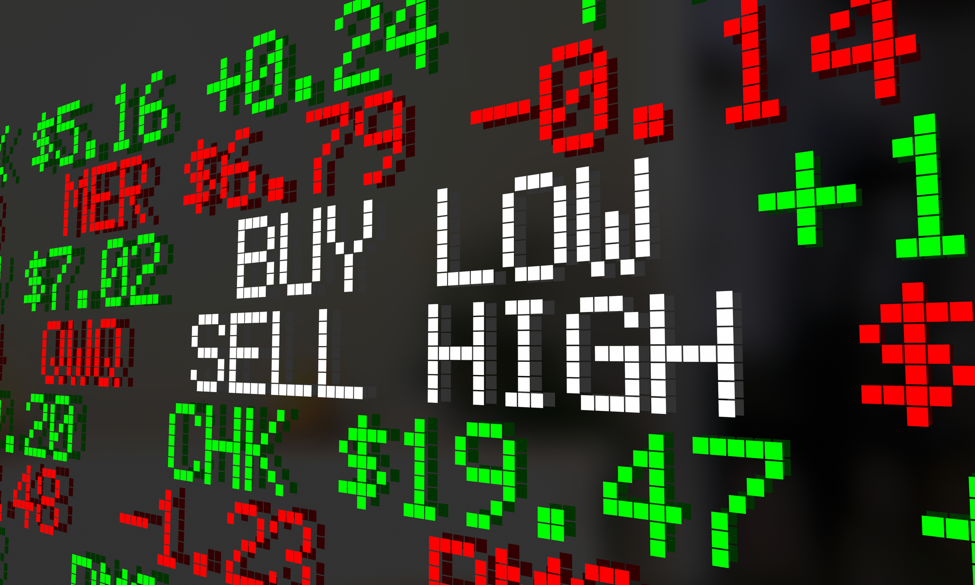 Wall street sign saying buy low and sell high.