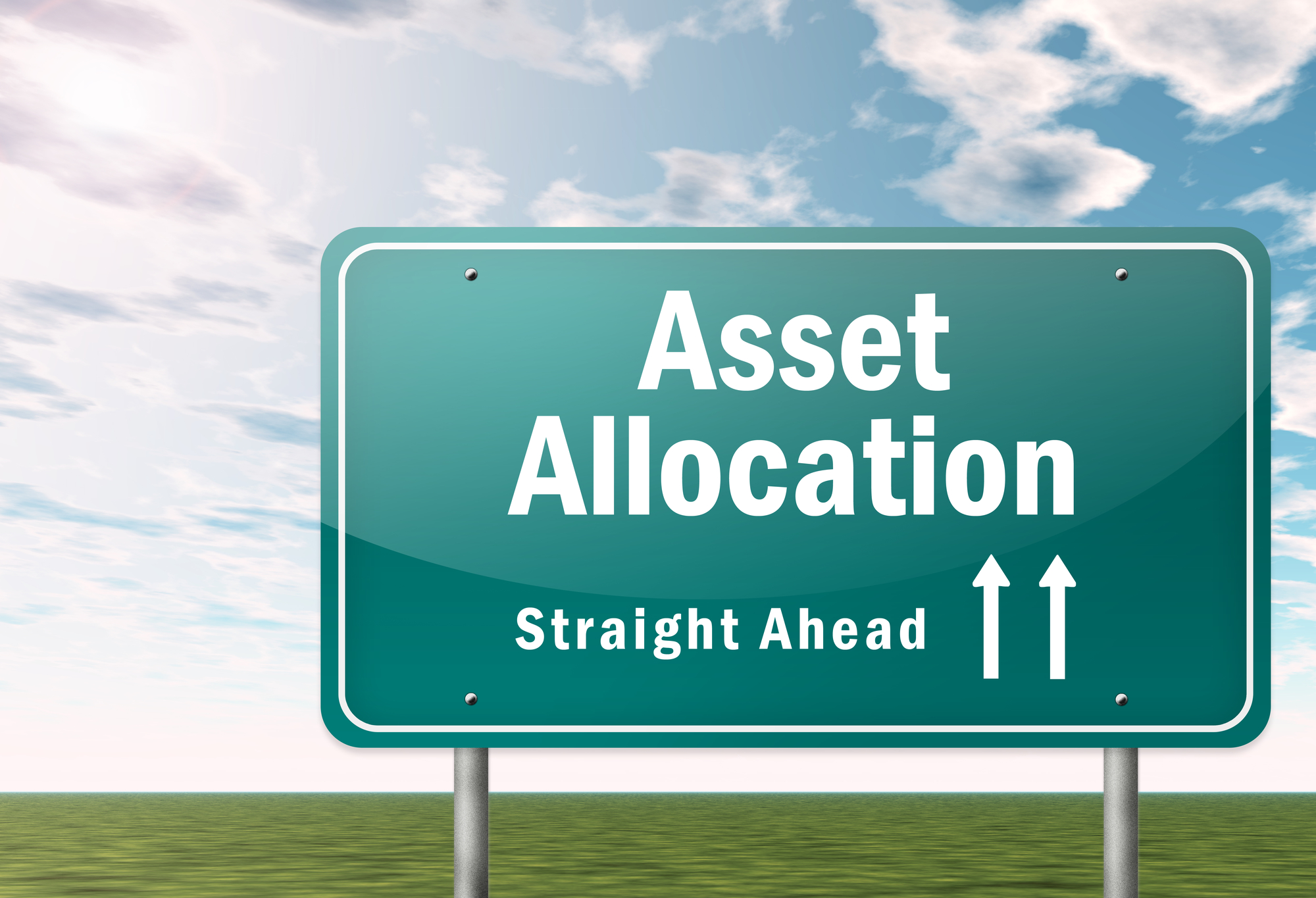 road sign that says asset allocation straight ahead