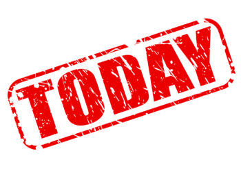 """The word """"today"""" stenciled in red on white background"""