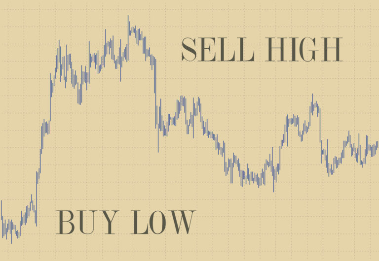 Read out of a stock sheet showing the market rising high and then going low: buy low, sell high.