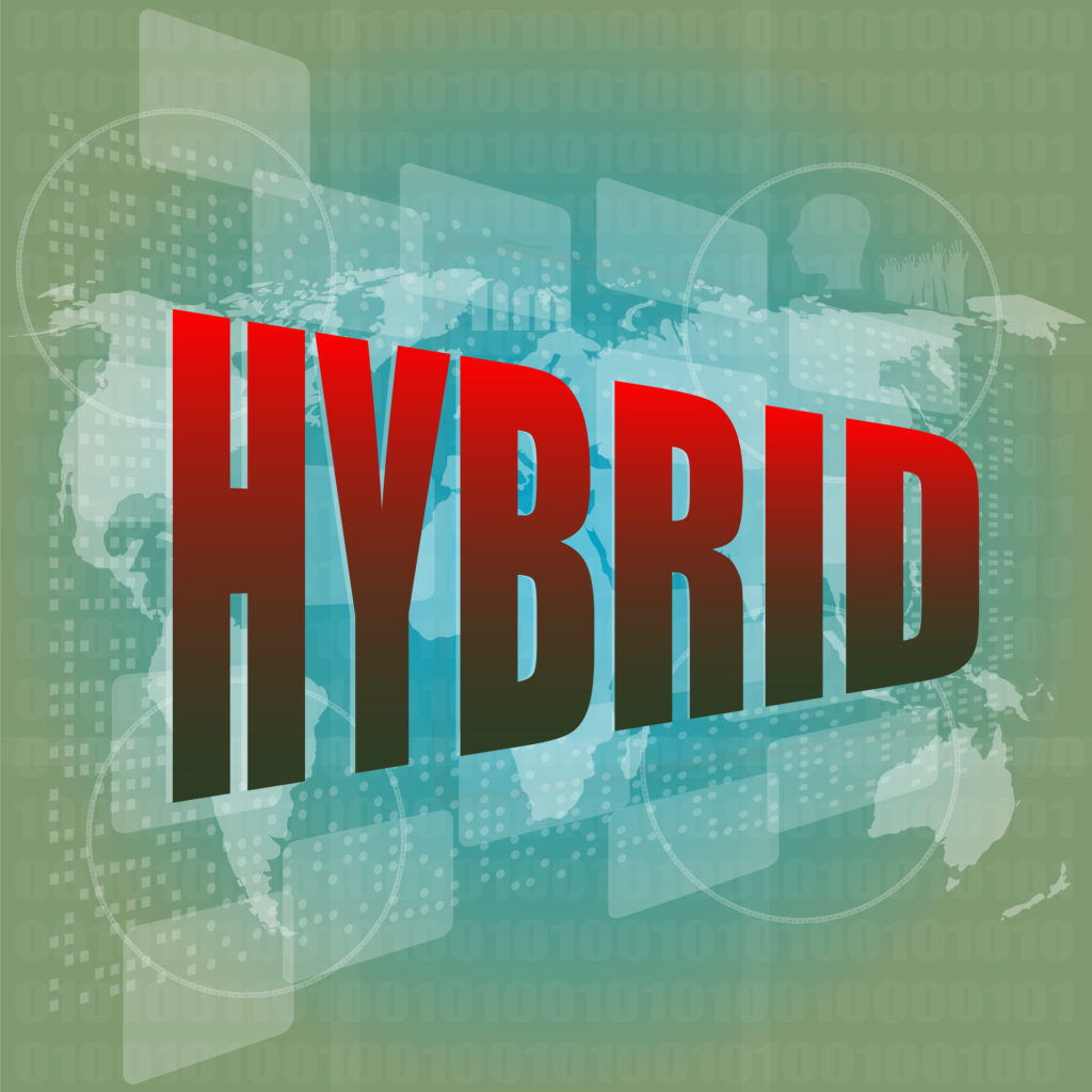 The word hybrid in red letters, which describes a long-term care insurance policy