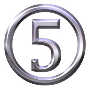 3d silver number 5 isolated in white
