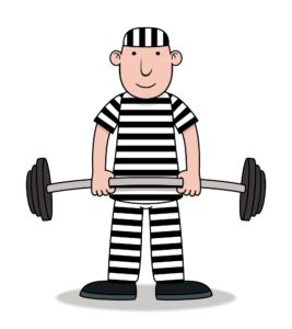 Cartoon drawing of inmate in black and white striped prison uniform holding a large barbell in his hands.