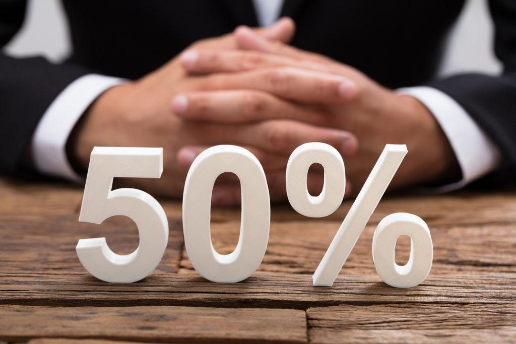 The white 50% symbol