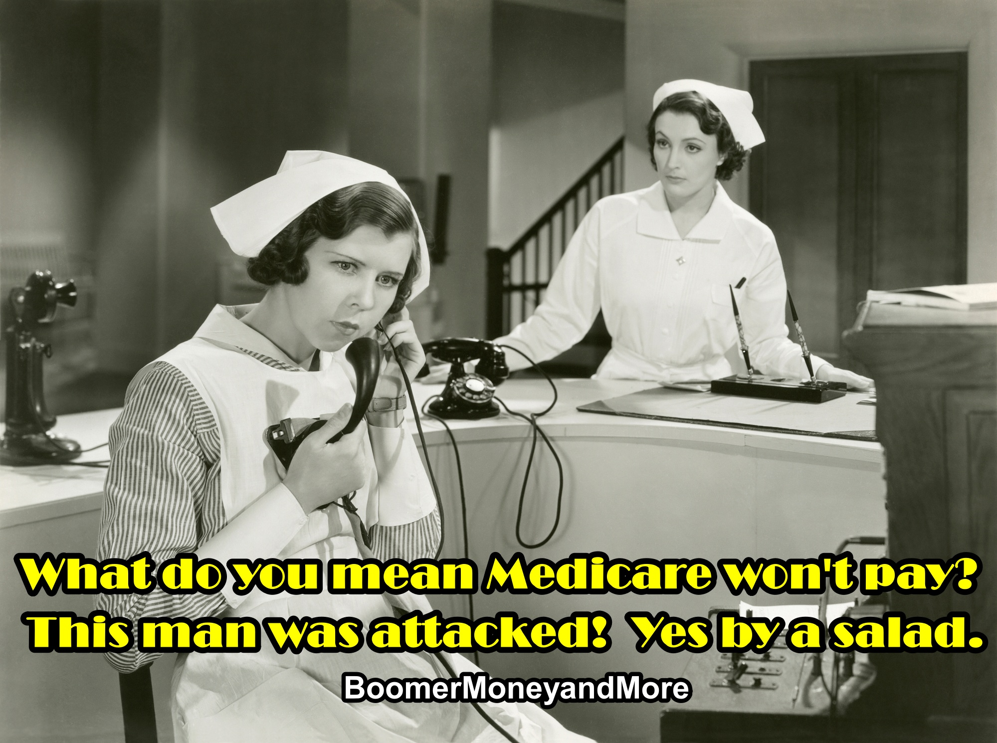 Nurse on phone trying to get medicare authorization.