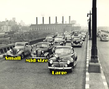 Vintage black and white photo of cars labeled large, mid-size, and small--just like diversified stock funds.