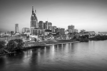 Black and white photo of Nashville skyline, reflecting Dave Ramsey's get-out-of-debt gospel .