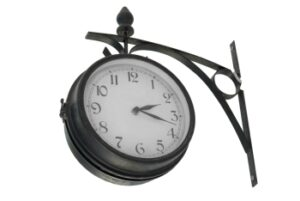 Black and white clock illustrating that it doesn't necessarily take 10,000 of deliberate purposeful practice to acquire a skill.