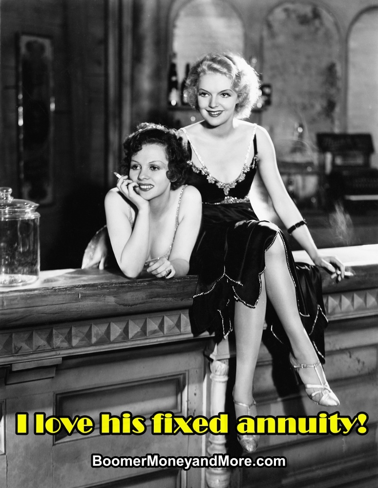 Black & white retro photo of two women, sitting at the bar, leering at a man's fixed annuity. Man off-camera.)