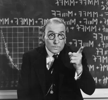 Retro black and white photo of professor lecturing that retirement security is not built via GameStop, but by tried and true financial principles enumerated in text.