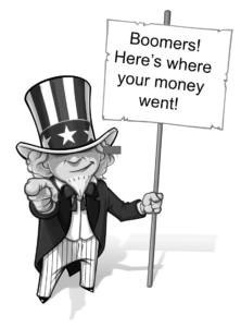 Uncle Sam holding sign designed to help people not outlive their money by informing them where their money went.
