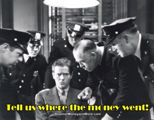 retro black and white photo of young man in police station surrounded by police officers who are demanding to know where the money went